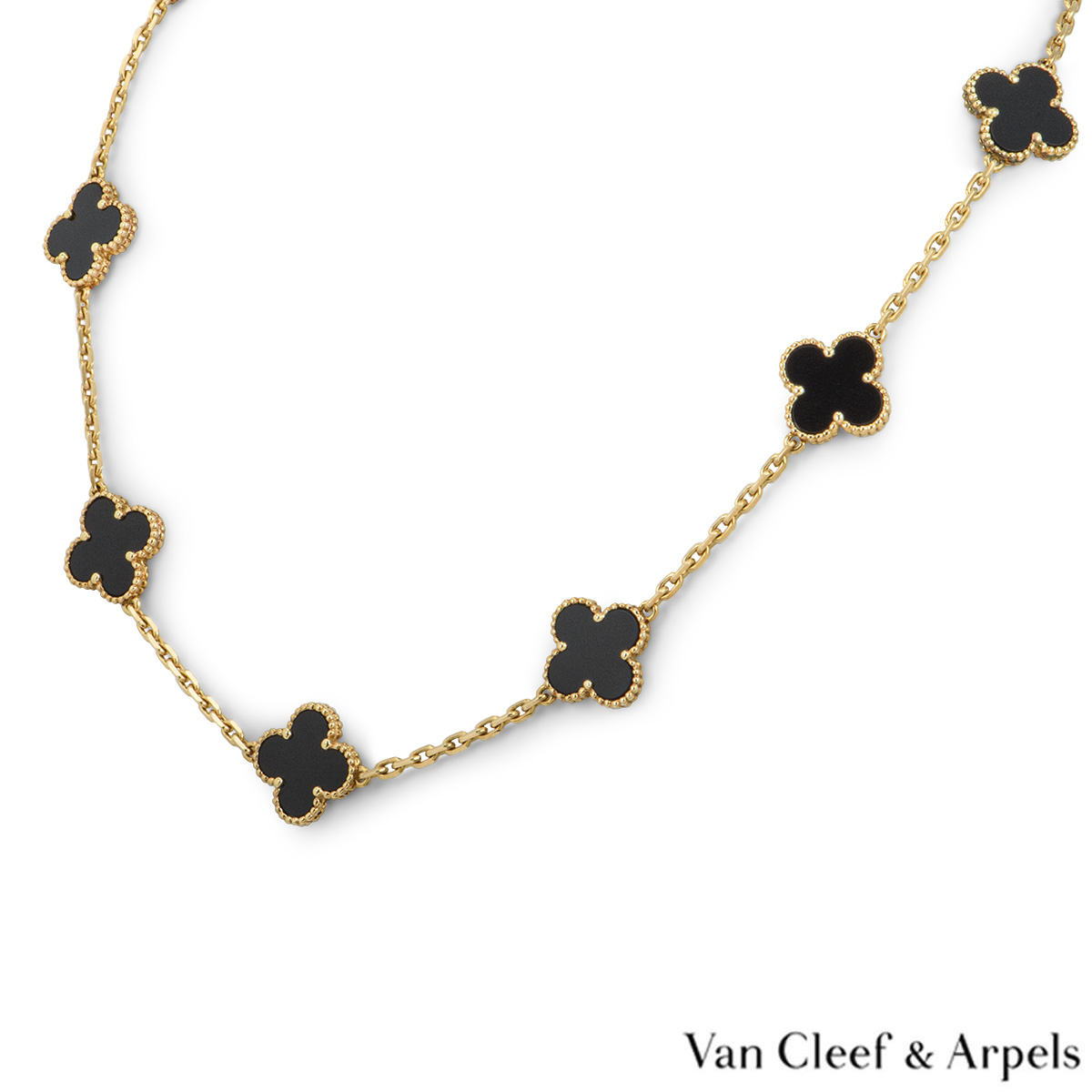 Van Cleef & Arpels Yellow Gold Onyx Vintage Alhambra Necklace VCARA42700